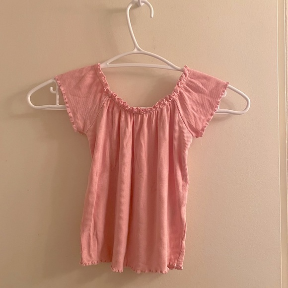 (BRAND NEW) Stretchy Baby Pink, Ruffled Top